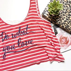 """Tops - Graphic Red Stripe Crop Top """"Do What You Love"""""""